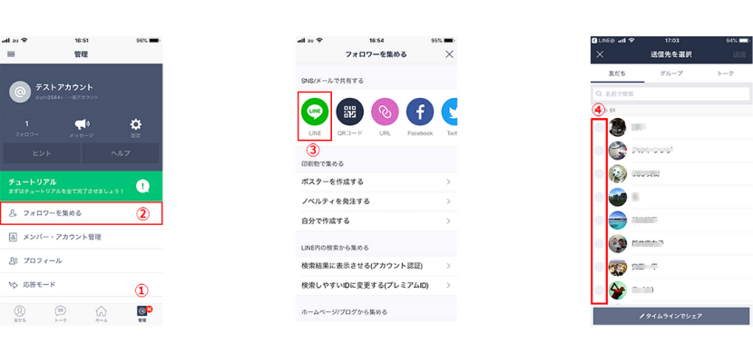 LINEからLINE@に招待する方法イメージ