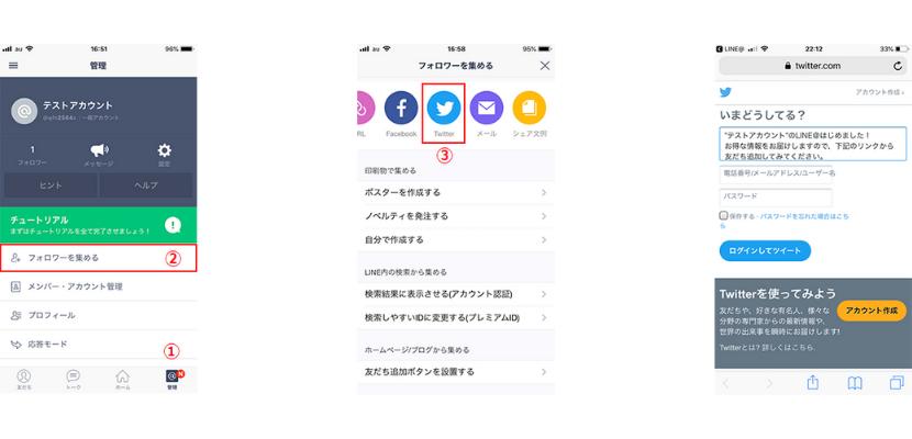 TwitterからLINE@に招待する方法イメージ