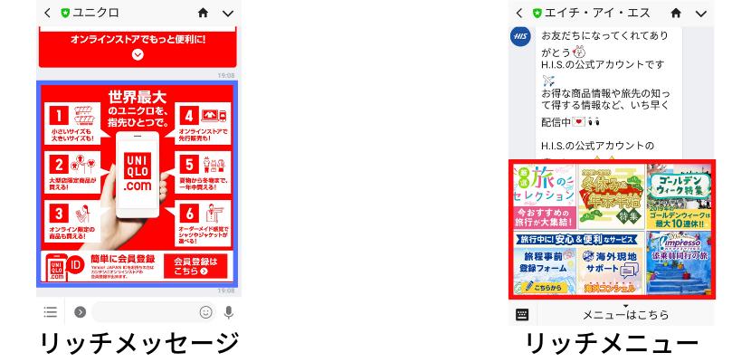 リッチメッセージとの違いイメージ