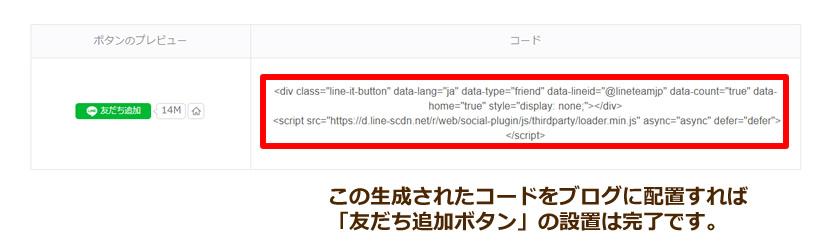 生成されたコードをブログに設置イメージ